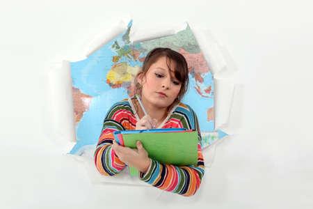 bursting: Girl bursting through background
