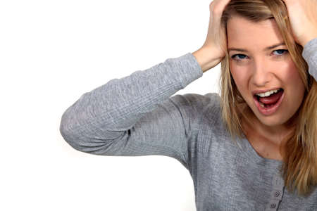 Frustrated woman screaming Stock Photo - 17584374