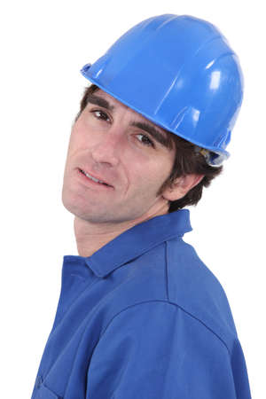 portrait of blue collar Stock Photo - 17579772