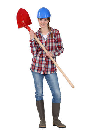 Woman with shovel photo