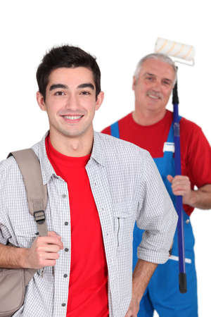 tradespeople: Portrait of an apprentice posing with his new boss