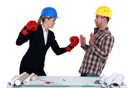 Architect and builder coming to blows photo