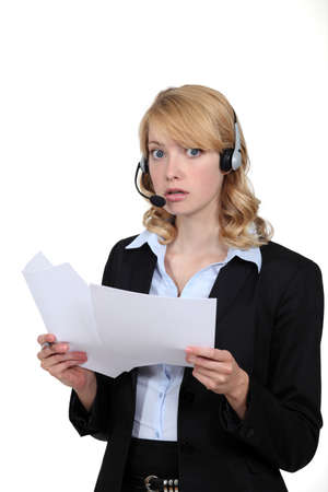 dubious: Dubious woman with a headset