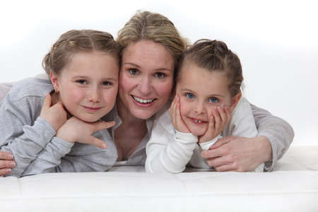 Woman hugging her kids Stock Photo - 17732542