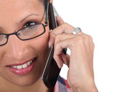 a woman at phone