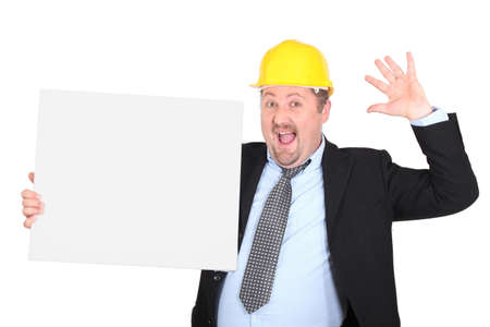 construction businessman holding an empty board Stock Photo - 17716023