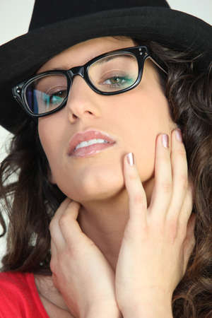 Attractive woman in geeky glasses photo