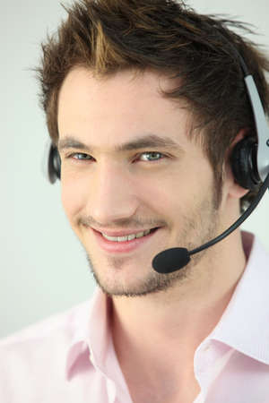 Young man wearing a headset photo