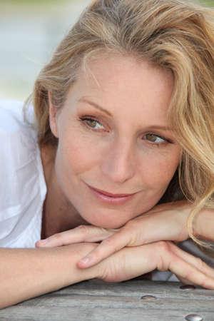 introspective: Portrait of blond woman Stock Photo