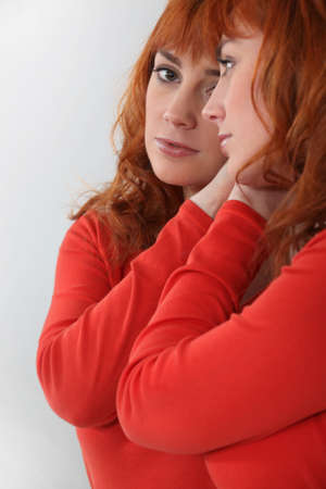 dedication: Portrait of attractive redhead Stock Photo