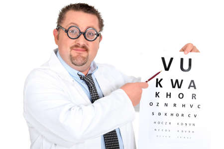 hyperopia: Comedy optician with an eyechart Stock Photo