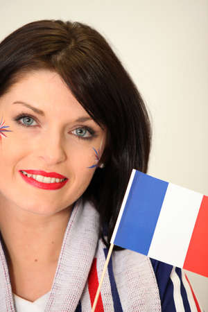 supporter: French Supporter waving miniature flag Stock Photo