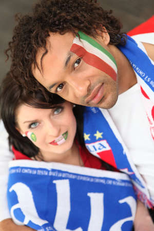 sports venue: couple of italian supporters