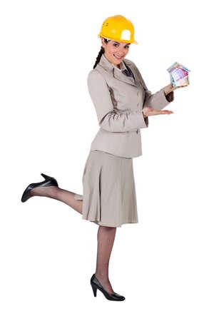 doorkey: Woman entrepreneur on white background Stock Photo