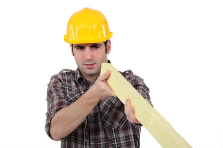 verifying: Construction worker examining a piece of wood