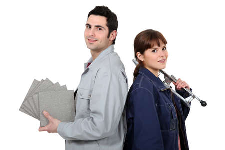 Couple prepared for tiling photo