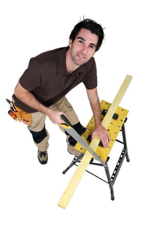 gimmick: Carpenter sawing wood