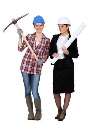 Female construction workers photo