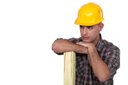 banter: Workers supported on wooden slats