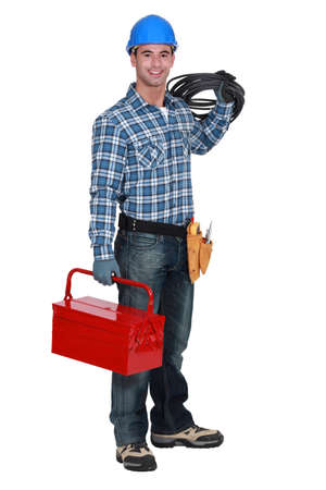 Electrician with a toolbox Stock Photo - 17904126