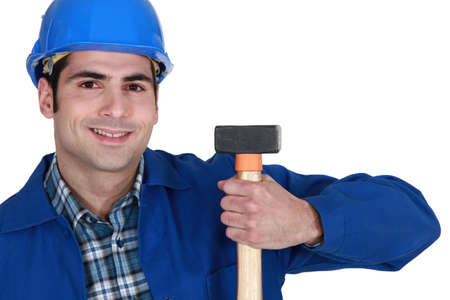 pry: Man holding hammer Stock Photo