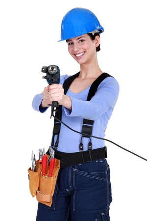 servicewoman: smiling craftswoman