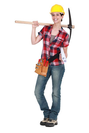 pick: Woman holding pick-axe