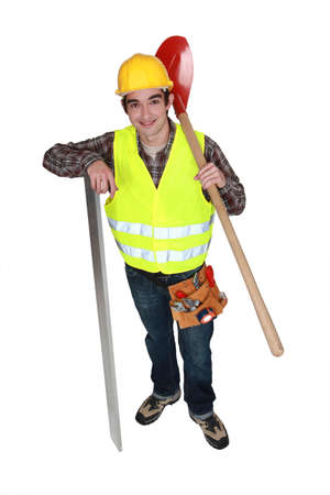 A young construction worker. photo
