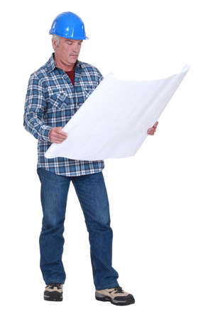 foreman consulting blueprints Stock Photo - 17904044