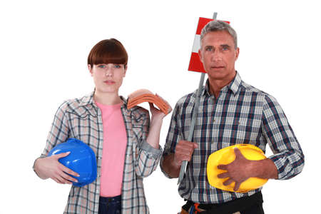 trussing: Father and daughter roofers Stock Photo