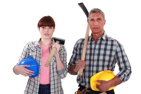 craftswoman: craftsman and craftswoman posing together