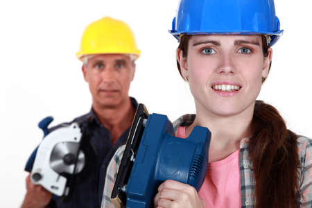sander: Father daughter ready to renovate house Stock Photo