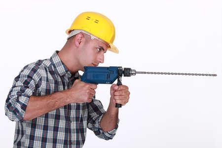 Man using power drill Stock Photo - 17904265