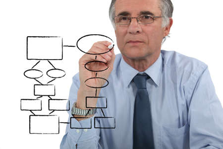 Man drawing an organization chart photo