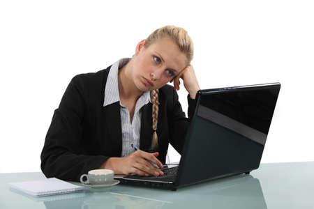 blase: A bored secretary Stock Photo