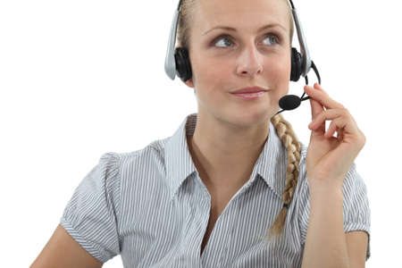 Blond call-center agent Stock Photo - 17976729