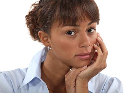 average woman: Shy brunette Stock Photo