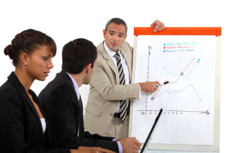 decipher: Businessman explaining a line graph