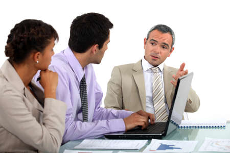 businessmeeting: Business people in a discussion Stock Photo