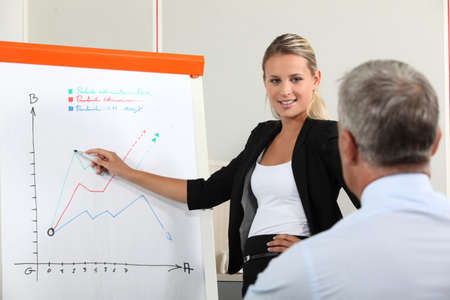 public company: Businesswoman presenting the results of a market research