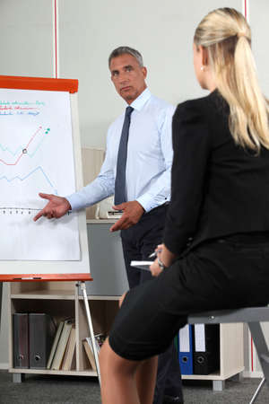 informal clothes: Businessman giving presentation with aid of flip-chart Stock Photo
