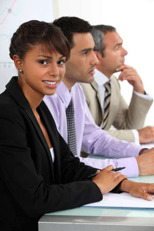 Three people sat on interview panel Stock Photo - 17976685