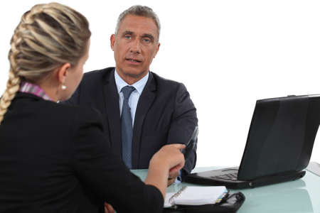 chairman: Two office workers in meeting Stock Photo