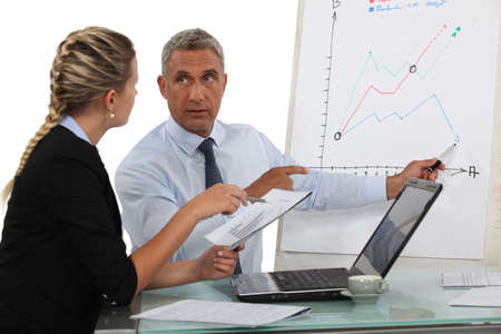 foresee: Business professionals making previsions Stock Photo