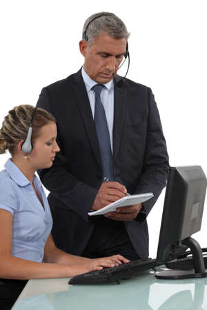 call center representative: Call-center employee with boss