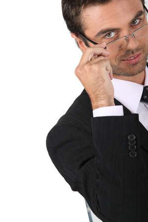 likable: Businessman wearing glasses Stock Photo