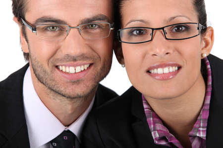 nearsighted: Portrait of a couple wearing glasses
