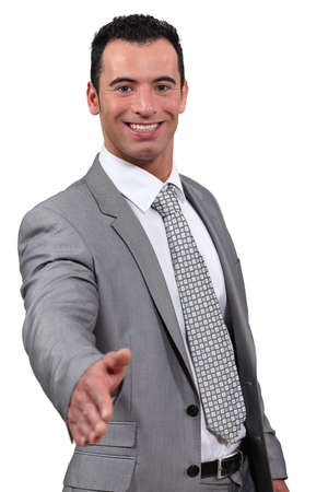 business man give hand shake Stock Photo - 18100245
