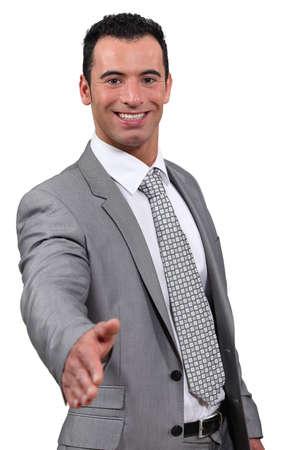 business man give hand shake Stock Photo - 18100245