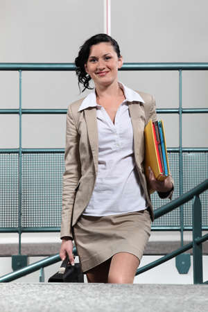 chief executive officers: Businesswoman arriving to work Stock Photo